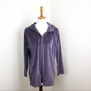 Pure Jill Purple Hooded Zip Up Athleisure Top